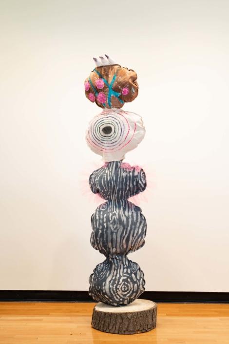 Melanie Daniel, Queenfrill, 2019, Canvas, wax, dye, acrylic, wood, PVC, wood, 10' x 3'