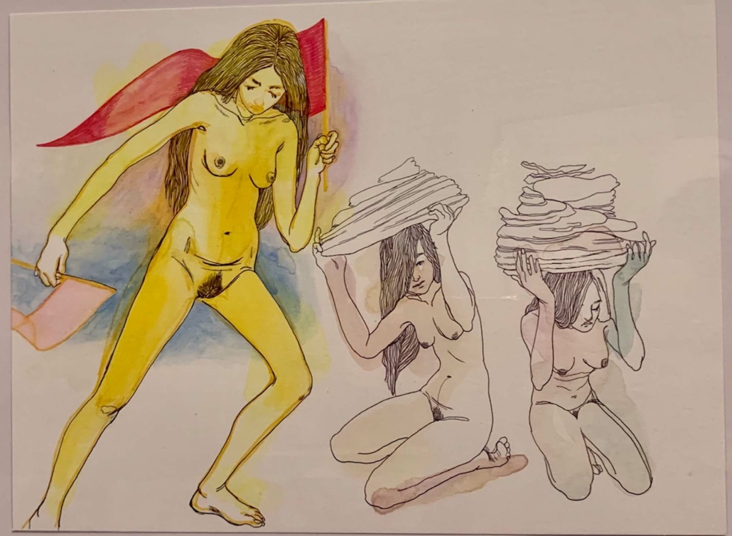 "Nadia Waheed, Fatigue Drawing XII, 2020, Mixed media on paper, 9"" x 12"""