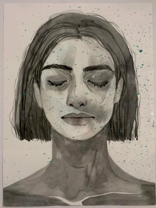 """Nadia Waheed, Fatigue drawing V, 2020 ,Mixed media on paper, 9 """" x 12"""""""