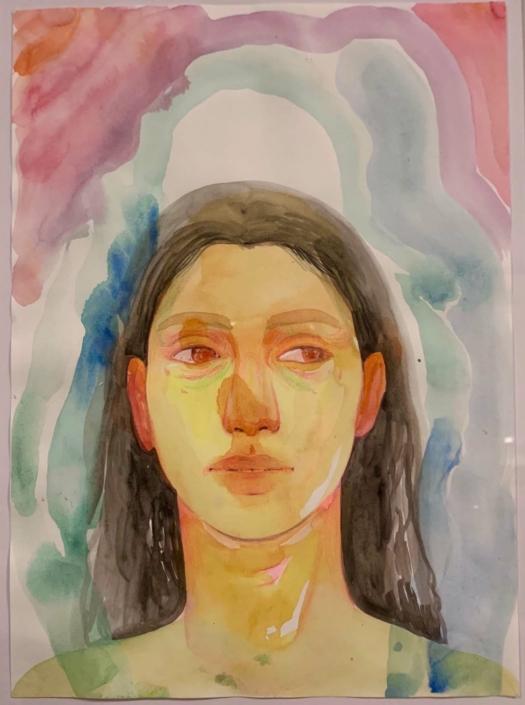 "Nadia Waheed, Fatigue Drawing XIII, 2020, mixed media on paper, 8"" x 10"""