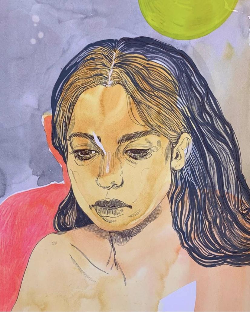 """Nadia Waheed, Fatigue Drawing IV, 2020, Mixed media on paper, 8"""" x 10"""""""