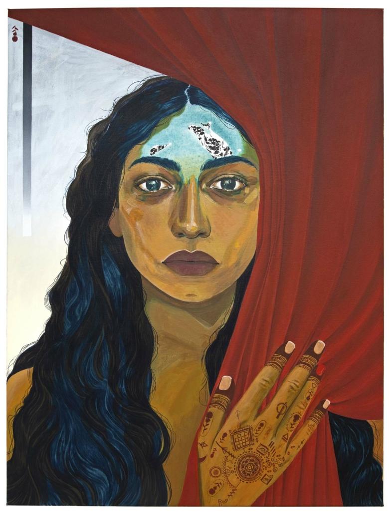 """Nadia Waheed, Mantra, 2020, Acrylic on canvas, 32"""" x 42"""""""