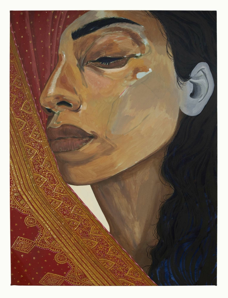 "Nadia Waheed, Attachment/ Detachment, 2020, Acrylic on canvas wrapped panel, 30"" x 40'"