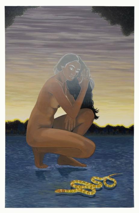 "Nadia Waheed, Inside the Eyewall, (Ouroboros), 2020, Acrylic on canvas, 66"" x 42"""
