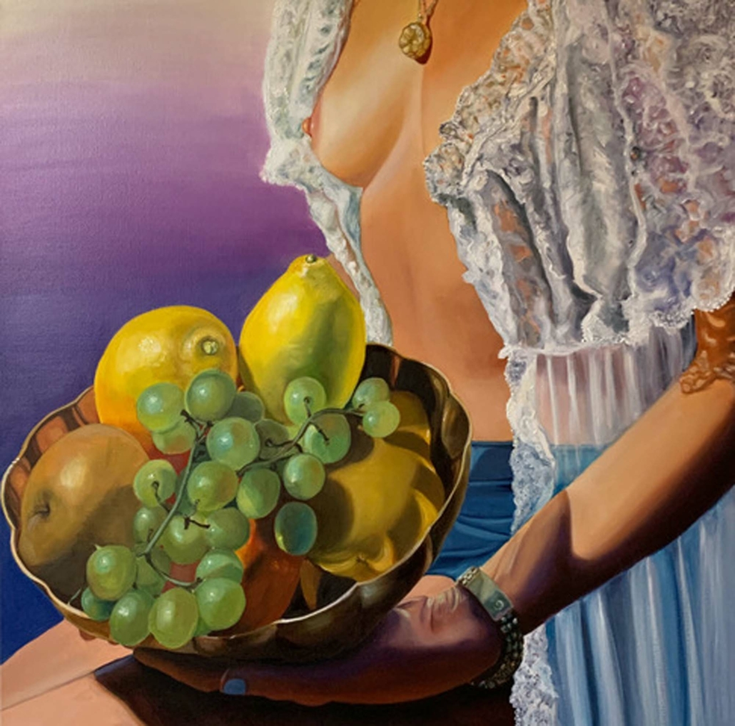 "Thérese Mulgrew, Fruit Bowl, 2020, Oil on canvas, 30"" x 30"""