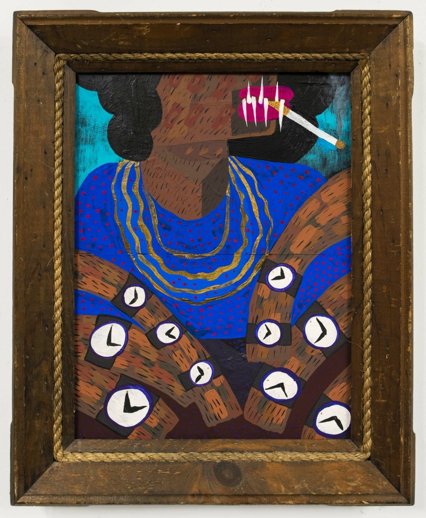 "Azikiwe Mohammed, There Are Black People in the Future #3 / Anansi Selling Watches on Grand Concourse, Bronx, NY, Acrylic, watercolor and gouache on board, 16"" x 20"""