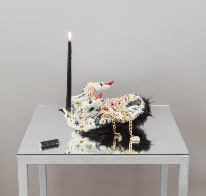 "Roxanne Jackson, Blackhearted, 2019, Ceramic, glaze, luster, faux fur, candle, necklace, rhinestones, nail stickers, 15"" x 17"" x 9.5"""
