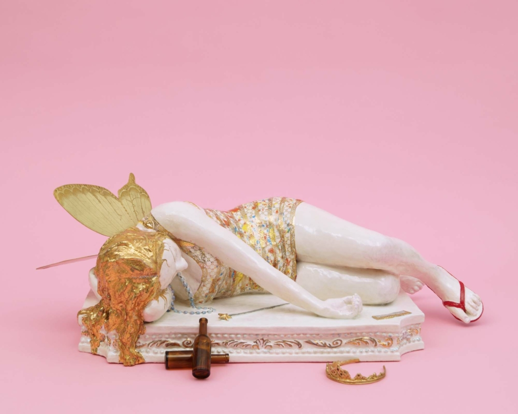 "Claire Partington, The Bachelorette, 2021, Ceramic and mixed media + miniature bottles and brass tiara, 8.5"" x 23.5"" x 12"""