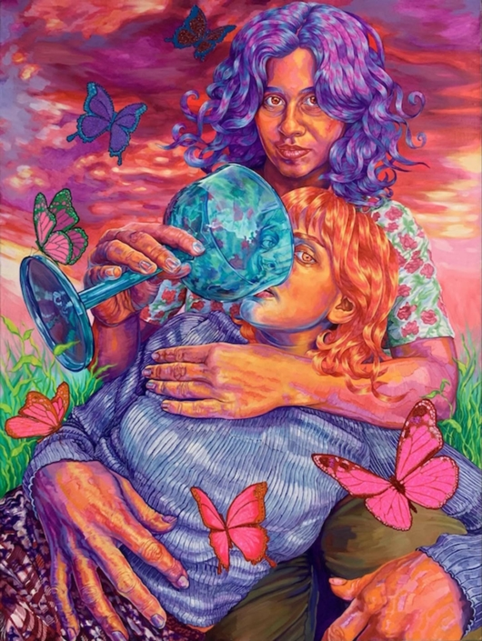 "Hannah Lupton Reinhard, The Matriarch (Mother Nature), 2021, Oil, acrylic, Swarovski crystals and glitter on canvas, 30"" x 40"""