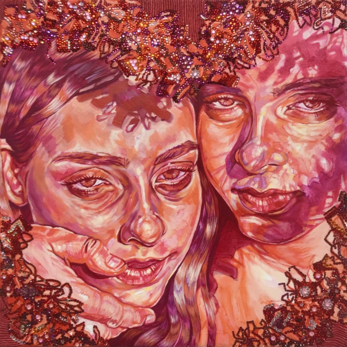 "Hannah Lupton Reinhard, Twin Embrace, 2020, Oil, wax, and swarovski crystals on canvas, 14"" x 14"""