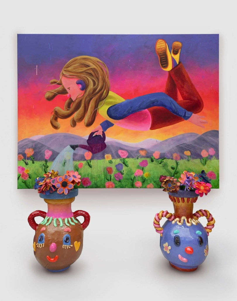 "Super Future Kid, Weed Wizard, 2021, Acrylic and flashe on canvas. Vases: Acrylic, flashe, gold leaf, resin, EPS, canvas, wire 67"" x 51"", sculptures, 23.5"" x 19.5"" x 17.75"" each"