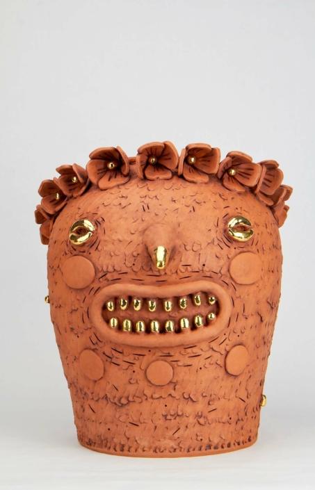 "Natalia Arbelaez, La Hada Negra, 2021, Terracotta and gold, 13"" x 10"" x 9"""