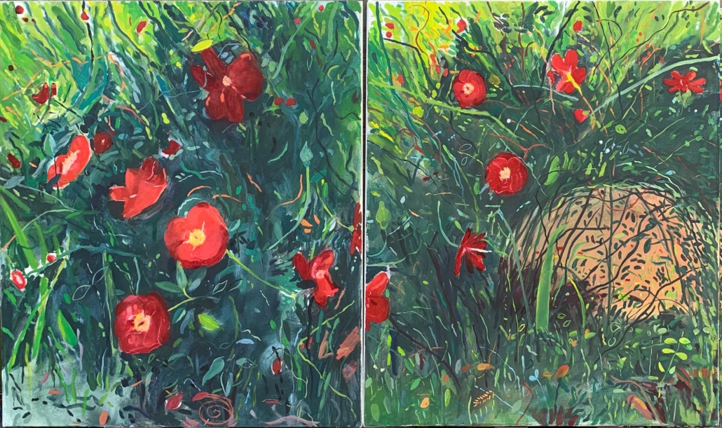 "Aaron Skolnick, Dancing to Marvin Gaye, 2021, Oil on canvas, 36"" x 60"", (diptych)"
