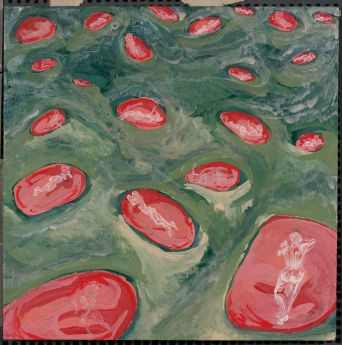 "Adrian Schachter, Fairy Circles II, 2021, Gesso and tempera on canvas, 16"" x 16"""