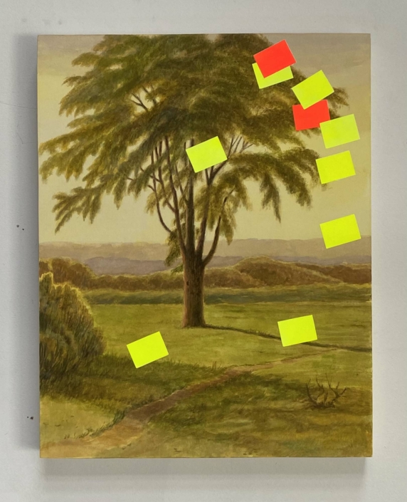 "Kirsten Deirup, Landscape (with Tree), 2019, Gouache and flashe on paper mounted on panel, 11"" x 14"""